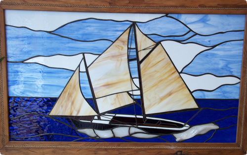 sailboat in stained glass